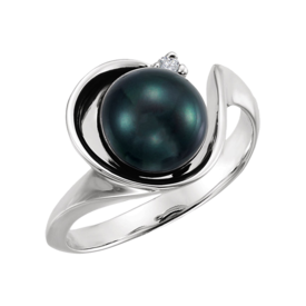 Pearl Rings Fancy White Gold Black Pearl Ring