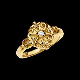 Diamond Rings Round Scroll Diamond Ring