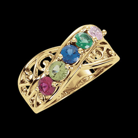 Mother Ring Filigree Design Family Birthstone Ring