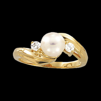 Diamond Akoya Pearl Ring