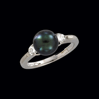 White Gold Tahitian Pearl Diamond Ring