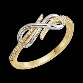 Two Tone Diamond Infinity Style Ring