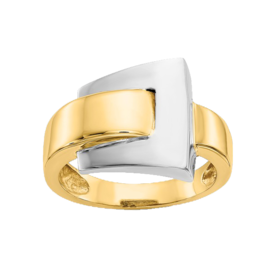 Gold Rings 14k Gold Two-Tone Buckle Ring