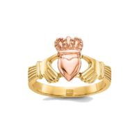 Gold Rings 14k Two Tone Gold Claddagh Ring