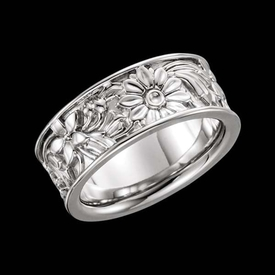 Gold Rings Ladies Floral Wedding Band