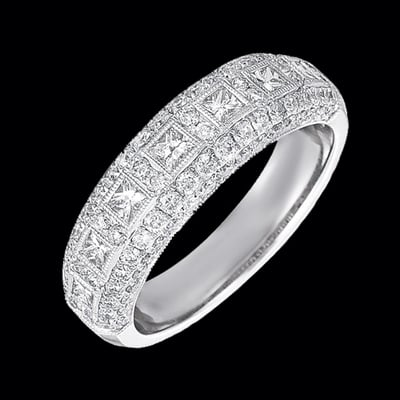 Princess & Round Diamond Pave Band