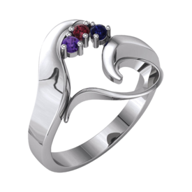 Mother Ring Flowing Heart Mothers Ring