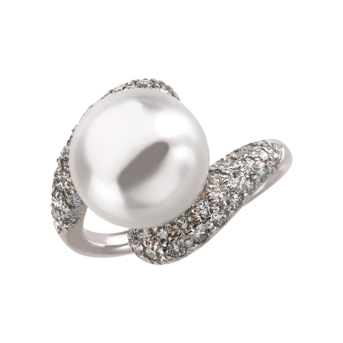 Pave Diamond and Pearl Ring