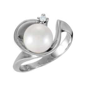 Pearl Rings Cradled Pearl and Diamond Ring