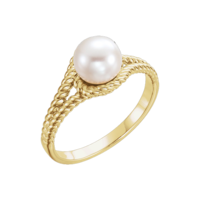 Pearl Rings Pearl & Gold Rope Style Ring