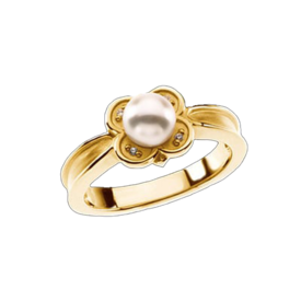 Pearl Rings Satin Flower Pearl Ring