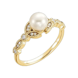 Pearl Rings Pearl & Diamond Leaf Ring