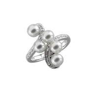 Pearl Rings Multi Pearl Diamond Ring