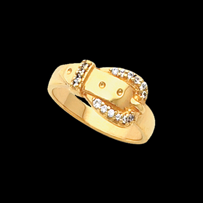 Diamond Belt Buckle Ring Precious Stones Set In Yellow