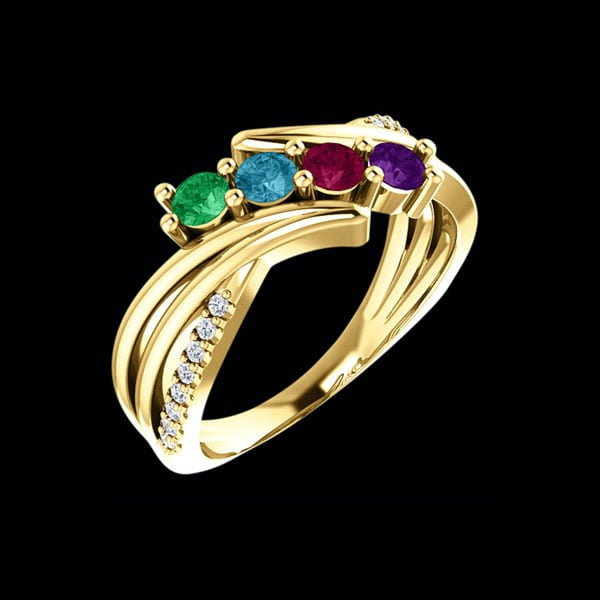 Mothers Birthstone Rings White Gold
