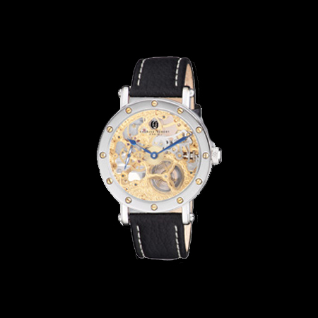 Charles Hubert Gold Tone Skeleton Watch