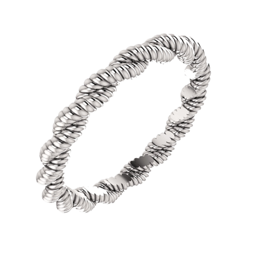 14K White Twisted Rope Band