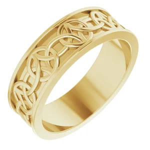 14K 7mm Classic Celtic Inspired Band