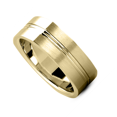 Dual Grooved Center Squared Wedding Band