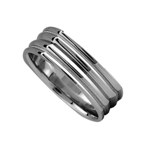 Squared Groove Wedding Band