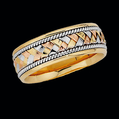 Tri Color Gold Braided Band