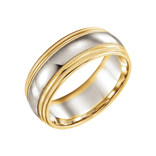 14k Two Tone Gold Wedding Band