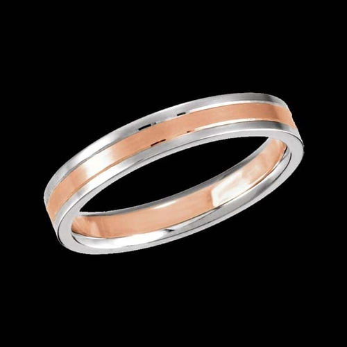 Rose and White Grooved Wedding Band