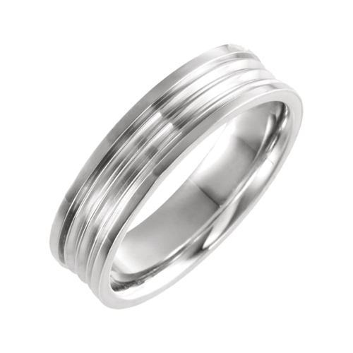 Gold Grooved Comfort Fit Wedding Band