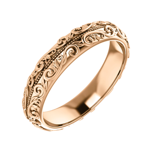 Gold Sculptural Wedding Band