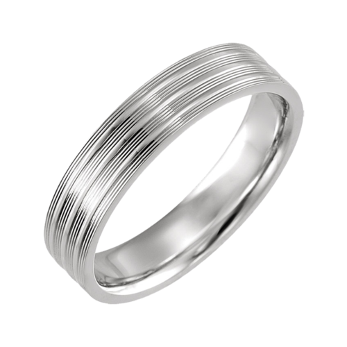 Grooved 5mm Wide Wedding Band