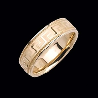 Fancy Greek Key Wedding Band
