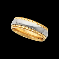 Two-Tone Wedding Bands Gold Comfort Fit Wedding Band