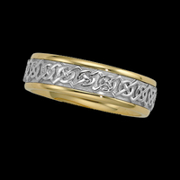 Celtic Two Tone Gold Wedding Band