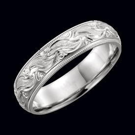 Hand Crafted Wedding Band Gold Hand-Engraved Wedding Band
