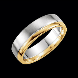 Two-Tone Wedding Bands Brushed Two Tone Wedding Band