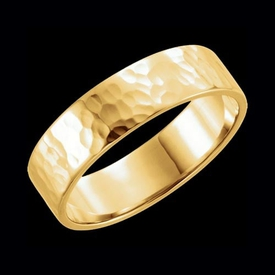Flat Hammer Finish Wedding Band