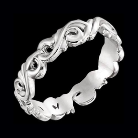 Hand Crafted Wedding Band Sculptural Scroll Design Band