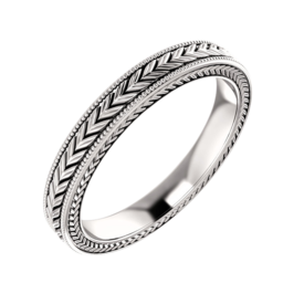 Hand Crafted Wedding Band 14k Gold Wheat Pattern Wedding Band