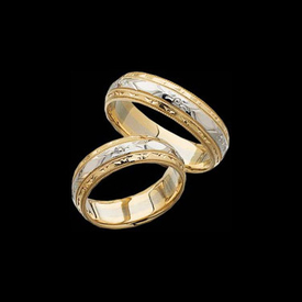 14Kt Two Tone Wedding Band