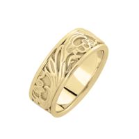 Hand Crafted Wedding Band Floral Scroll Hand Crafted Wedding Band