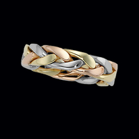 Hand Crafted Wedding Band Tri Color Braided Wedding Band