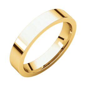 Gold Wedding Bands Comfort Fit Flat Wedding Band