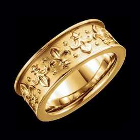 Hand Crafted Wedding Band Fleur-de-lis 7.75mm Gold Band