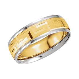 Two Tone Greek Wedding Band