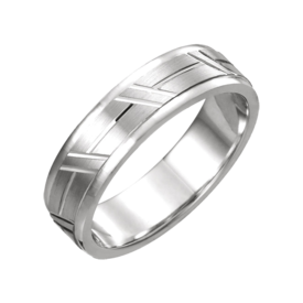 Gold Wedding Bands Grooved Comfort Fit Wedding Band