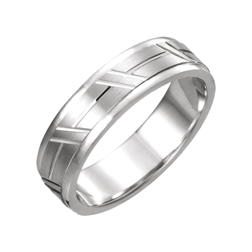 Grooved Comfort Fit Wedding Band