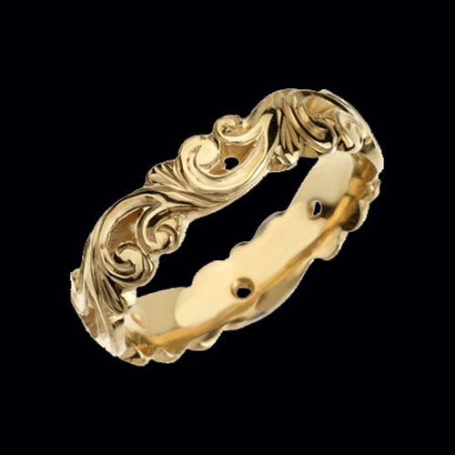 Scroll Carved Wedding Band