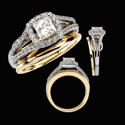 dual band diamond engagement ring With dual band wedding rings