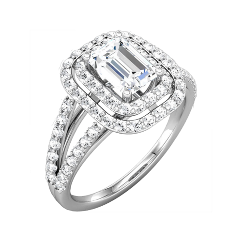 Emerald Cut Halo Diamond Semi Mount