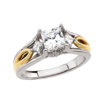 Princess Diamond SemiMount Engagement Ring